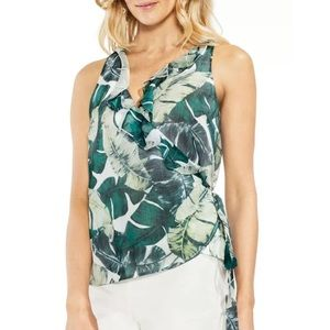 Vince Camuto Jungle Palm Wrap Front Top